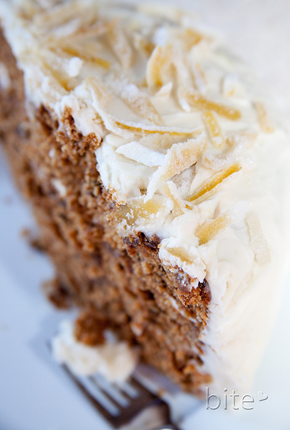 spiced layer cake with cream cheese frosting and candied lemon ...