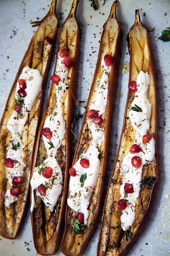 eggplant with yogurt dressing and za'atar