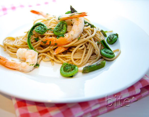 Spaghetti with fiddleheads and shrimp